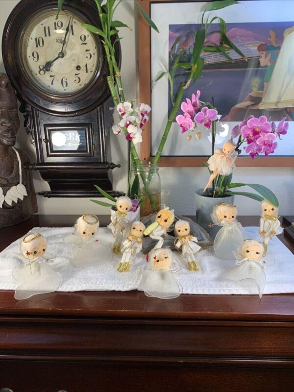 Vintage LOT 11 Made In Japan Angels Figures Christmas Ornaments Rare Bundle