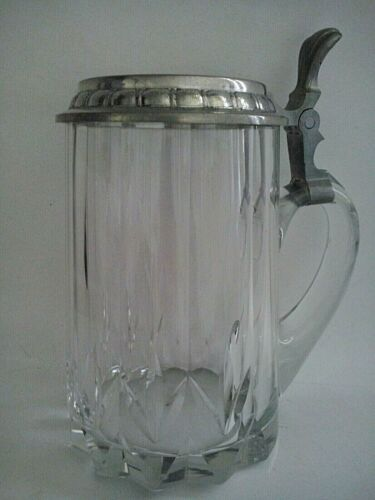 Vintage Clear Lead Cut Glass Pewter Cover Germany 0,5 L Beer Stein
