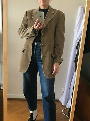 Velvet corduroy long jacket blazer winter beige