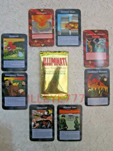 1995 Illuminati Card Game Inwo  1 Booster Pack  New World Order  Nuke  Epidemic