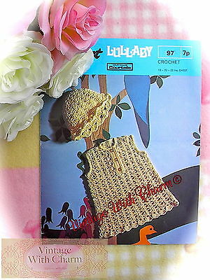 (Vintage Crochet Pattern Baby Girls Dress & Hat 3 sizes £2.49 + FREE P&P!)