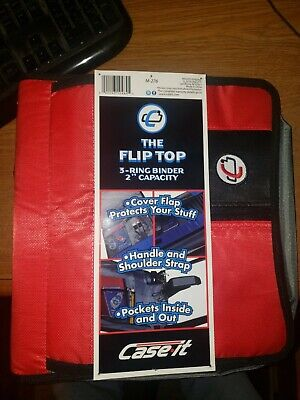 Case-it The Flip Top 3-ring Binder 2 Capacity Cover Flapshoulder Strap Red New