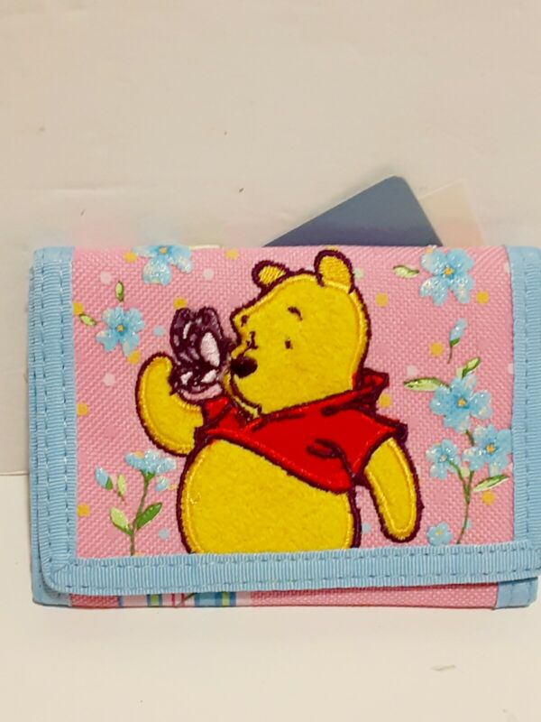 Disney Winnie The Pooh Embroidered Kids Canvas Trifold Wallet Authentic Gift New