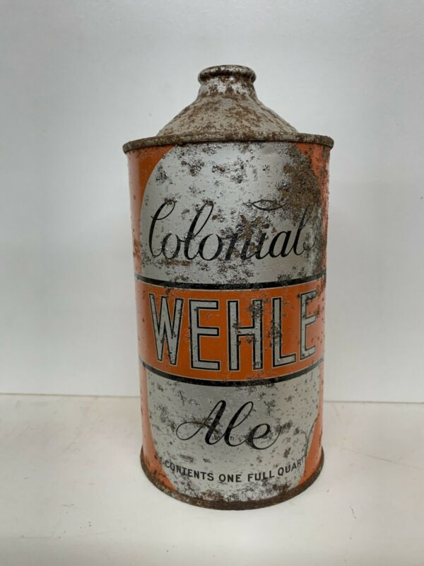 Wehle Colonial Ale QUART CONE TOP Beer Can West Haven, CT