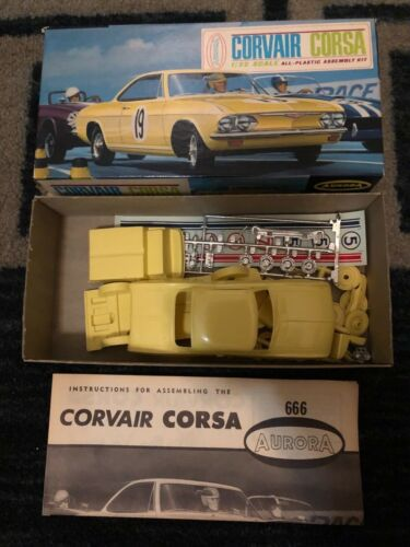1965 AURORA CURVAIR CORSA-YELLOW 1/32 SCALE KIT #666-79, NEW-NICE