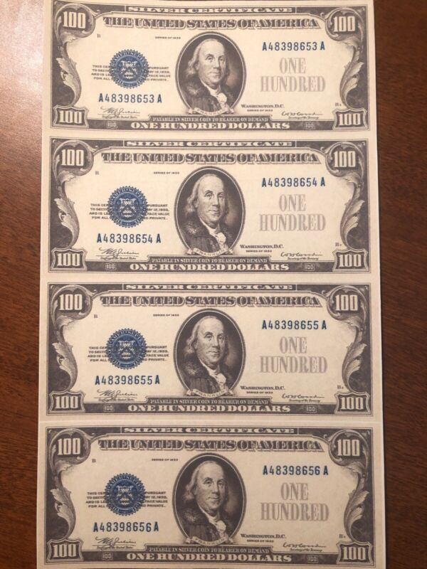 Copy 1933 $100 Silver Uncut Reproduction Currency Money Sheet
