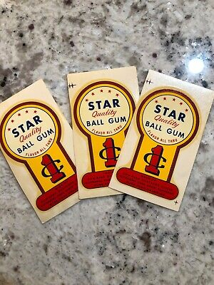 3 Original Star Ball Gum Water Release 1 Cent decal Ford Oak Victor Gumball