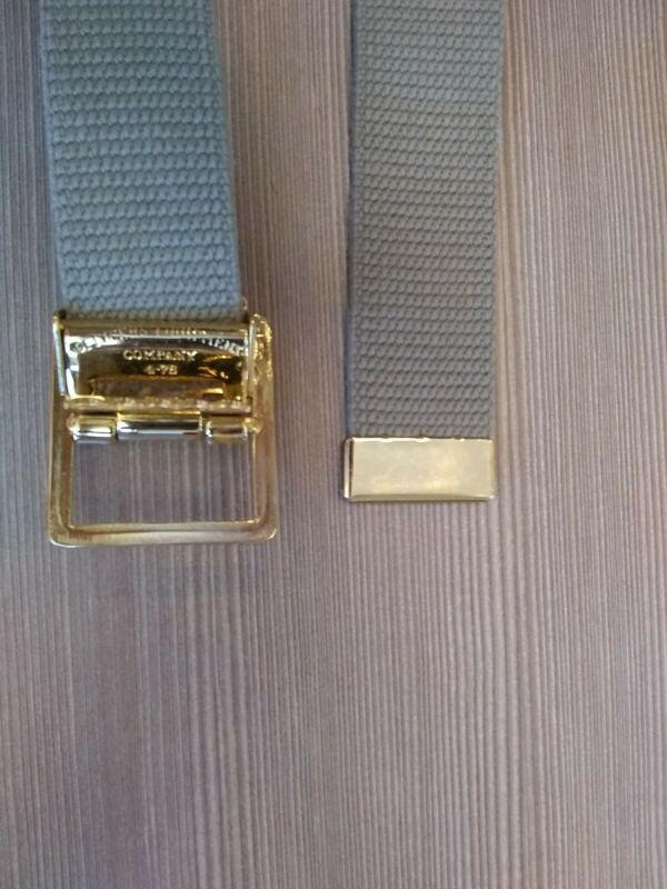 USMC Khaki Web Belt with heavy brass open face buckle