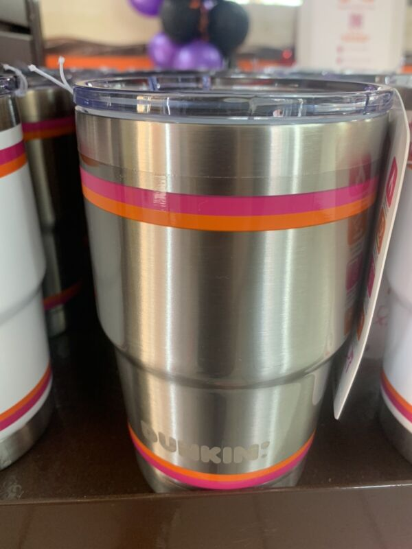 New Dunkin Short Stainless Travel Mug/ Tumbler Hot Cold 2019 Orange/Pink Stripe