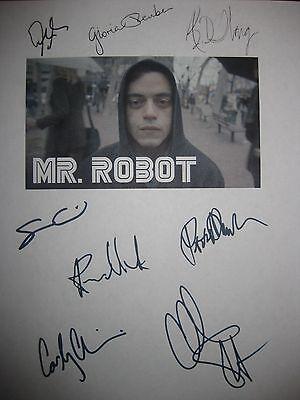 MR ROBOT signed TV script X8 Rami Malek Christian Slater BD Wong Sam Esmail rpnt