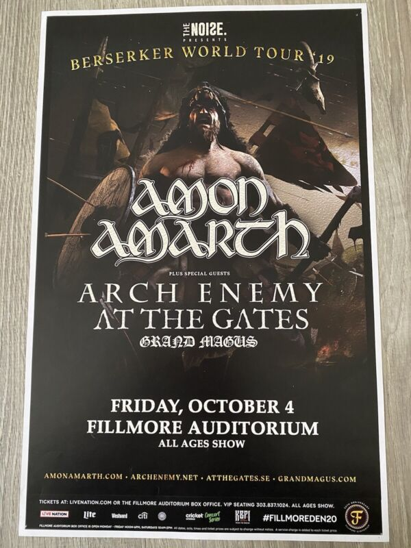 """Amon Amarth & Arch Enemy At The Gates 11"""" X 17"""" Show Poster"""