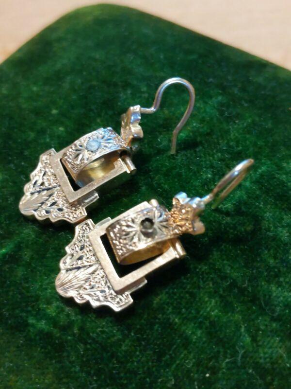Antique Vintage Nouveau 10k gold Etruscan Chased Dangle Earrings 2.2g READ DESCP