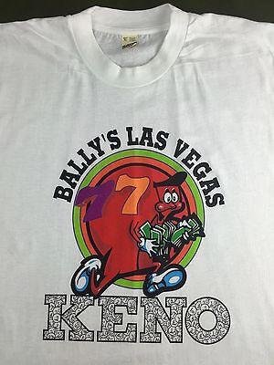 Vintage Mens Xl 90S Ballys Las Vegas Keno Gambling Game Screen Stars T Shirt