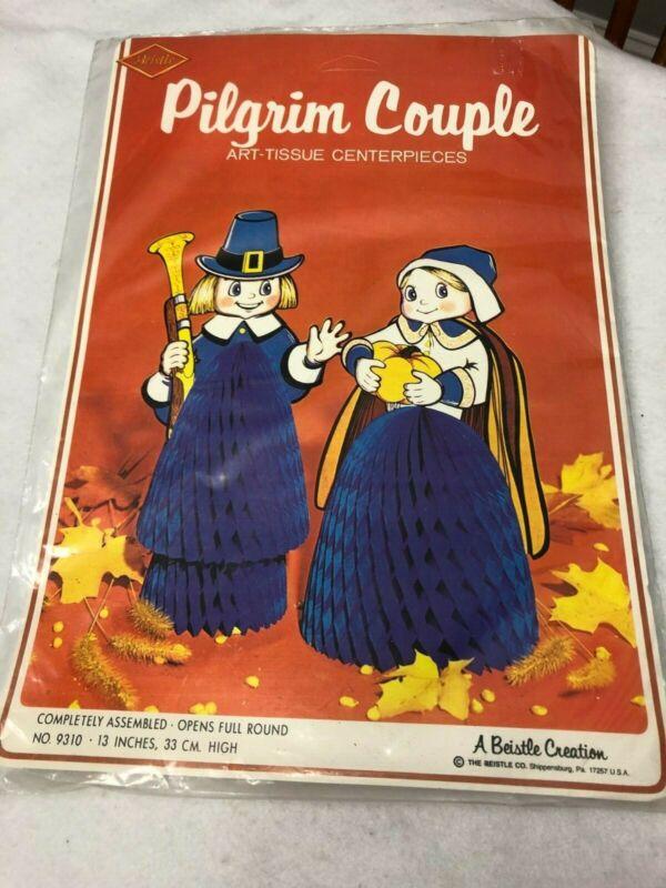 "2 Beistle Vintage Honeycomb Thanksgiving Pilgrims Centerpiece Decorations 15"""