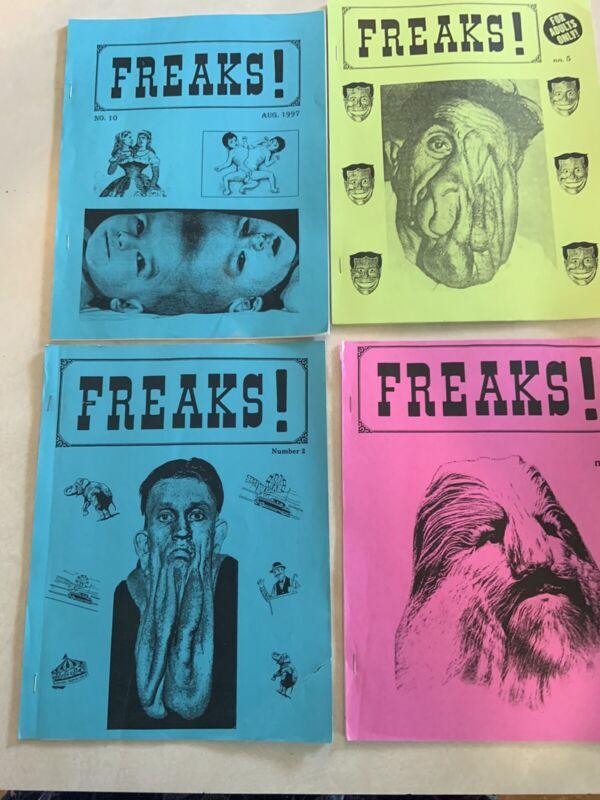 LOT OF 4 VINTAGE FREAKS - CIRCUS FREAKS- FANZINE, ZINE, 1990