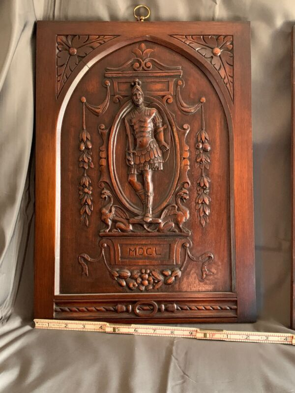 TWO HAND CARVED WOOD PANELS 16th Century Military Uniform  ANTIQUE  Rare