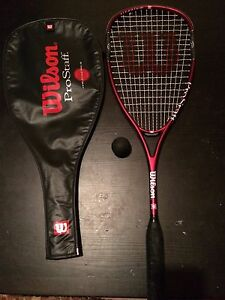 Squash racquet, cover and ball