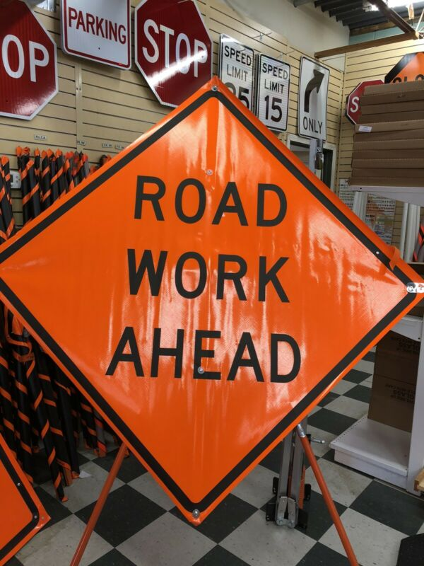 "Road Work Ahead Fluorescent Vinyl With Ribs Roll Up Road Sign 48""x48"""