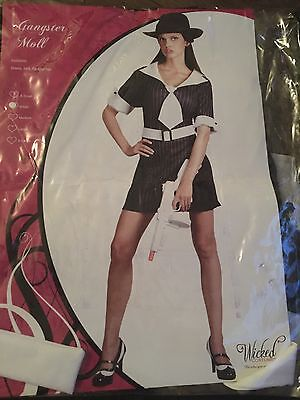 Ladies Gangster Moll, Mafia, Fancy Dress Outfit By Wicked Costumes Size S (Moll Outfit)