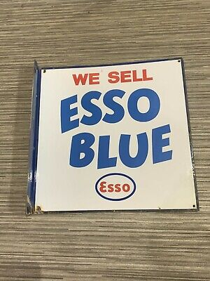 Vintage enamel sign '' We sell ESSO BLUE ''. Double sided.