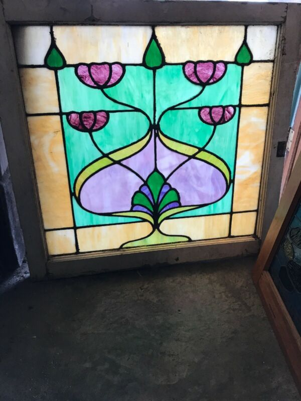"Sg 1318 Antique art nouveau stained glass window 34.5 x 32"" high"