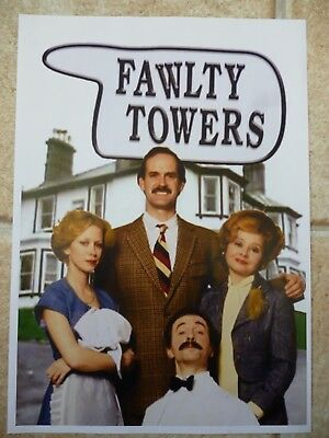 "FAWLTY TOWERS STARRING JOHN CLEESE, TV ADVERT FLYER SIZE A4 8.2"" X 11.7"""