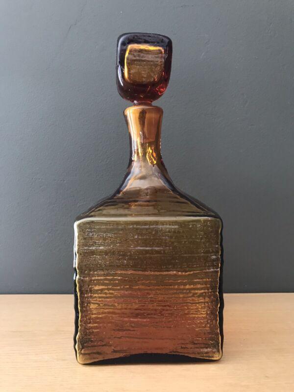 Blenko Myers 6224L Honey Amber Glass Square Ripple Bark Decanter 1960s Vintage