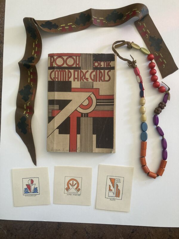 1936 Campfire Book + Beaded Necklace + Leather Band Honor Beads Vintage