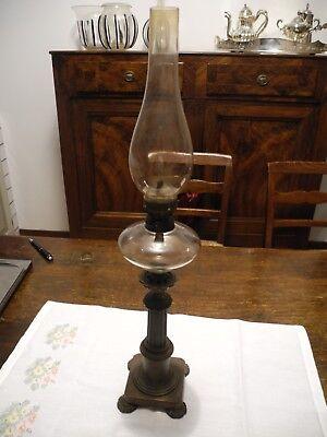 antica LAMPADA ad OLIO fine ottocento altezza cm 57 vetro-bronzo