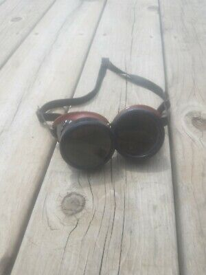 Vtg Welding Goggles Welsh Mfg Steampunk Biker Green Lens Cosplay Made In Usa