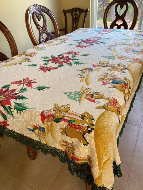 """CHRISTMAS TABLECLOTH WHIMSICAL ELF ELVES HANDMADE CROCHET 90"""" X 36"""""""