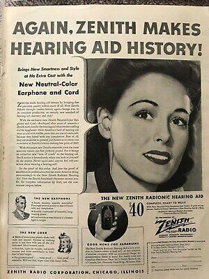 Zenith Hearing Aid~Zenith Makes History Again~1944 Vintage Print AD B17