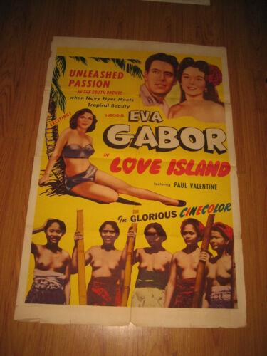 LOVE ISLAND 1sh R50s Paul Valentine, Malcolm Beggs, Eva Gabor, Movie Poster