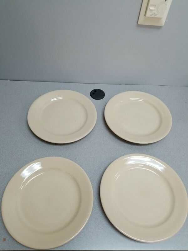 4 BUFFALO CHINA CAFE RESTAURANT WARE TAN DINNER PLATES