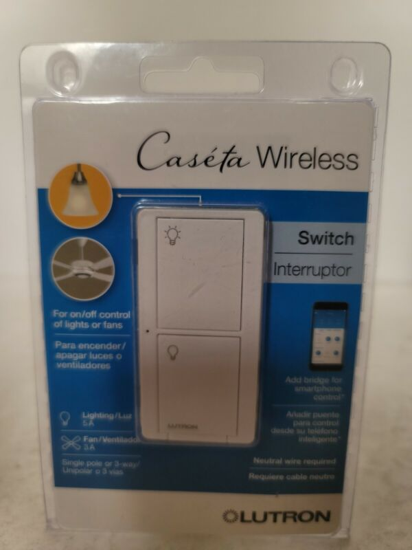 Lutron Caseta Wireless Switch PD-5ANS-WH-R Control Lights or Fans #7849
