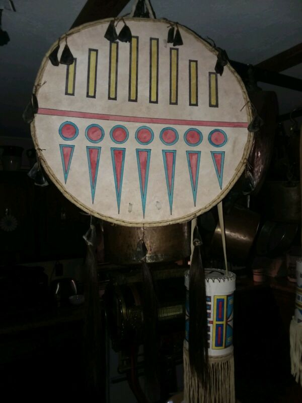 Native American Plains style Inspired Painted Rawhide Sheild