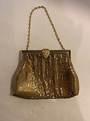 Vintage Whiting & Davis Gold Mesh Evening Bag Wrist Wristlet Purse USA