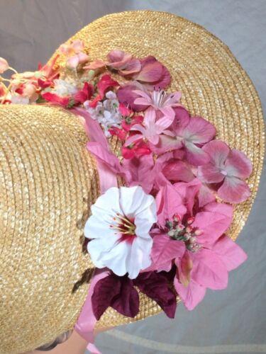 Victorian style Straw poke Sun bonnet Hat pink Regency flowers Ribbon ties Milan