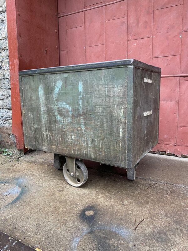 1900s Galvanized Cast Iron Wheels Mining Cart Kitchen Island Laundry Industrial
