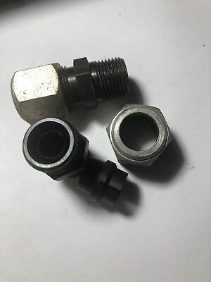 Hydraulic Tube Fittings - 2- Hydraulic Steel 1/2 Compression Tube To 3/8 Mail Pipe BA1000-8   -A2L4