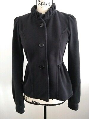 Express Women's Small Black Soft Cotton Fitted High Collar Button Front Jacket