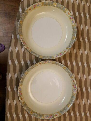 Vintage Set 2 SOUP BOWLS Noritake M Made In Occupied Japan Gold Rim Floral  - $4.00