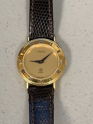 Vintage Gucci 3000L Gold Dial Classic Ladies Watch - Need New Battery