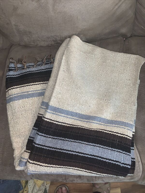 Molina Indian Blanket Hand Woven Fringed Browns Gray Mexico 4.5' X 6.5'