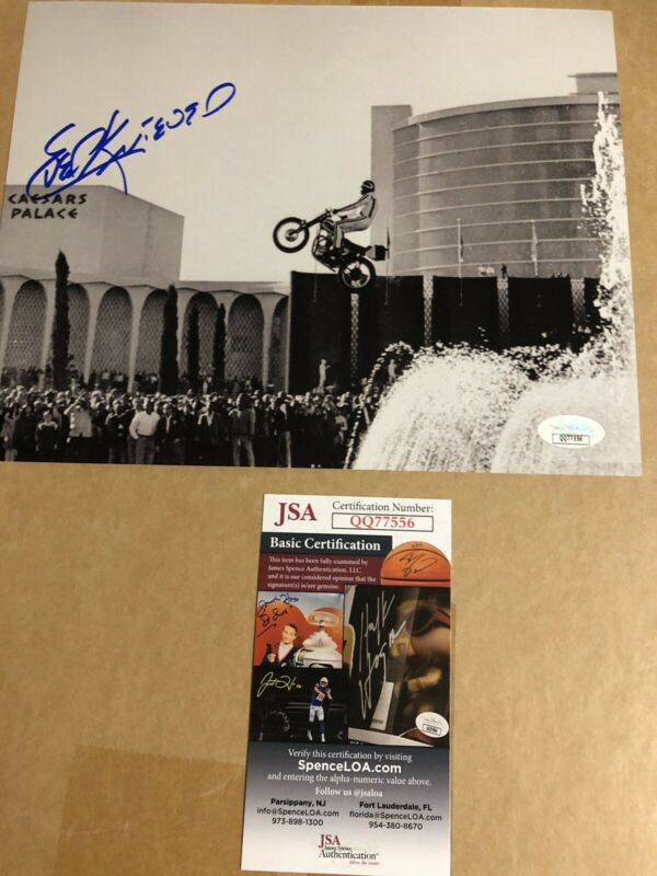 Autographed Evel Knievel 8x10 photo Caesars Palace JSA Certified Signed