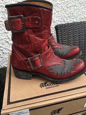 MEXICANA Biker Boots Stiefel Iron Eagle rot/schwarz 37,5 Vintage Ibiza Style  gebraucht kaufen  Zorneding