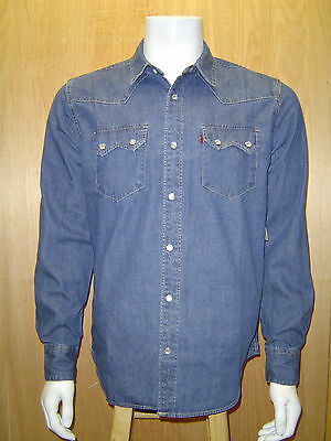 LEVI'S MEN'S SAWTOOTH PEARL SNAP FRONT WESTERN DENIM SHIRT AUTHENTIC STONEWASH  (Denim Western Snap)