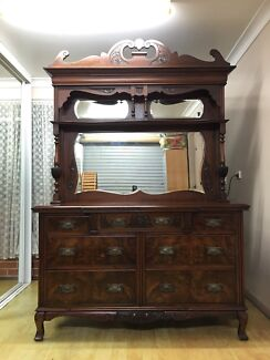Walnut Edwardian Solid Wood Carved Mirrored Dresser Sideboard  Bass Hill Bankstown Area Preview