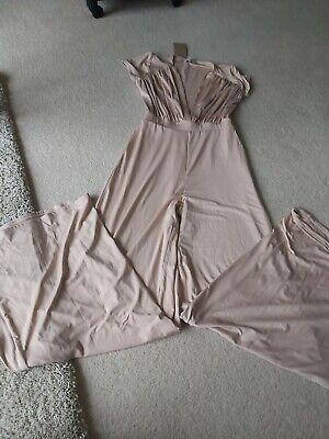 Oh Polly Nude wideleg Jumpsuit Uk10