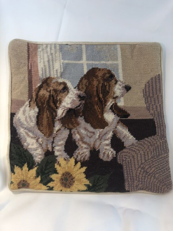 "Basset Hounds Dog Lounging Pillowcase Needlepoint 13"" Velveteen Back Zipper"